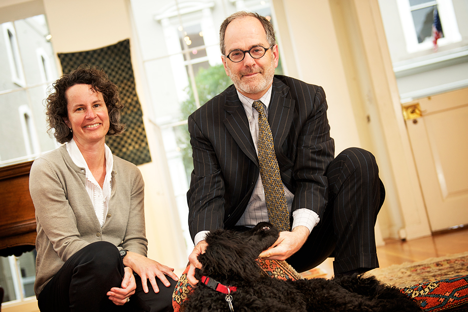 Peter and wife Terry with Renny, their standard Poodle puppy.