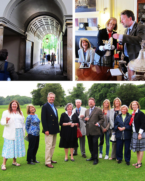 Clockwise from upper left: Hovingham Hall, private home of the Worsley family since 1563, is entered through a grand Palladian-style archway. Christopher Hartop shares his knowledge with tour participant Nardi Hobler, as the author looks on. The group poses on Hovingham's lawn, with host Sir William Worsley, third from left.