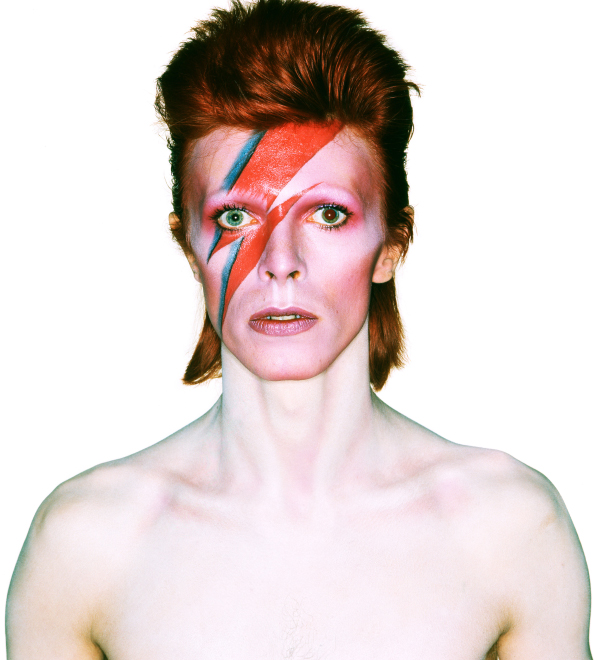 An exhibition at London's Victoria and Albert Museum explores the music, style and influence of chameleonic rock star David Bowie, here seen as Aladdin Sane — one of the many characters he created — photographed by Brian Duffy for the cover of the 1973 album of the same name. © Duffy Archive