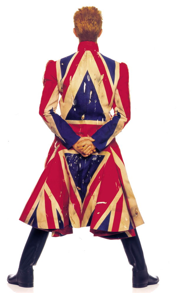 Bowie wore a Union Jack coat designed by Alexander McQueen for the Earthling album cover, 1997. Photo © Frank W. Ockenfels 3