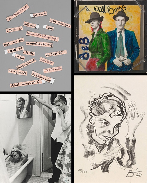 """Clockwise from top left: Cut up lyrics for """"Blackout"""" from Bowie's 1977 album Heroes; David Bowie and William Burroughs in a 1974 photograph by Terry O'Neill, hand colored by Bowie; a 1978 self-portrait in a pose adopted for the album cover of Heroes (previous three images courtesy of the David Bowie Archive 2012, © V&A Images); Bowie's photo collage of manipulated film stills by David James from The Man Who Fell to Earth, ca. 1975–76 (courtesy of the David Bowie Archive 2012 © STUDIOCANAL Films Ltd.)"""