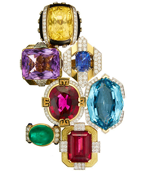 An array of fabulous colored-stone rings.