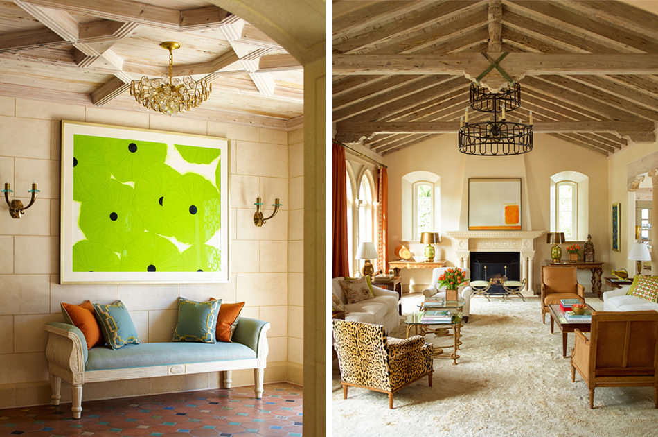 """Left: Cullman often uses modern art to add contrast to rooms decorated largely with period antiques, as she did in the Palm Beach home. Right: For a Palm Beach home, Cullman let the motto """"If you love it, it will work"""" guide the eclectic look."""
