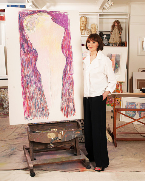 Gloria Vanderbilt stands in her studio beside Together Alone in the Unknowable Night, 2014, which will be among the works on display at the 1stdibs Gallery at the New York Design Center starting February 27. Previous page: Girl at the Window, 2013
