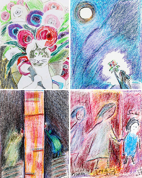 Details of various works, clockwise from top left: Cat and Mouse with Flowers, 2013; Flowers for the Moon, 2013; Suki and Friends, 2013; Dream Land, 2013