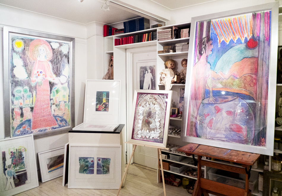 Much of Vanderbilt's work, seen here in her studio, has a color-saturated, dreamy quality to it.