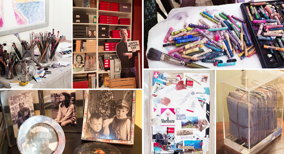 Clockwise from top left: an array of art supplies; a playful gift from Vanderbilt's son Anderson Cooper; pastels, a new tool for the artist; a Dream Box called Love Letters; a collage by her late son, Carter Cooper; family photos of, from left, her son Stan Stokowski and his daughters Aurora and Abra, and, in the round frame, his son Myles,and at far right, a young Anderson and Carter in front of the Christmas tree