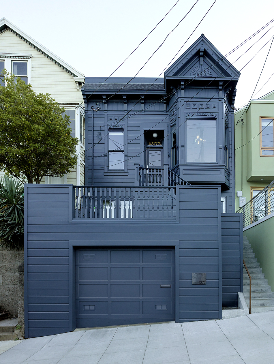 """The designer and her team gave the Victorian house in Noe Valley a modern update inside and out. """"The blue color creates a classic yet striking silhouette,"""" says Geremia. Photo by Matthew Millman"""