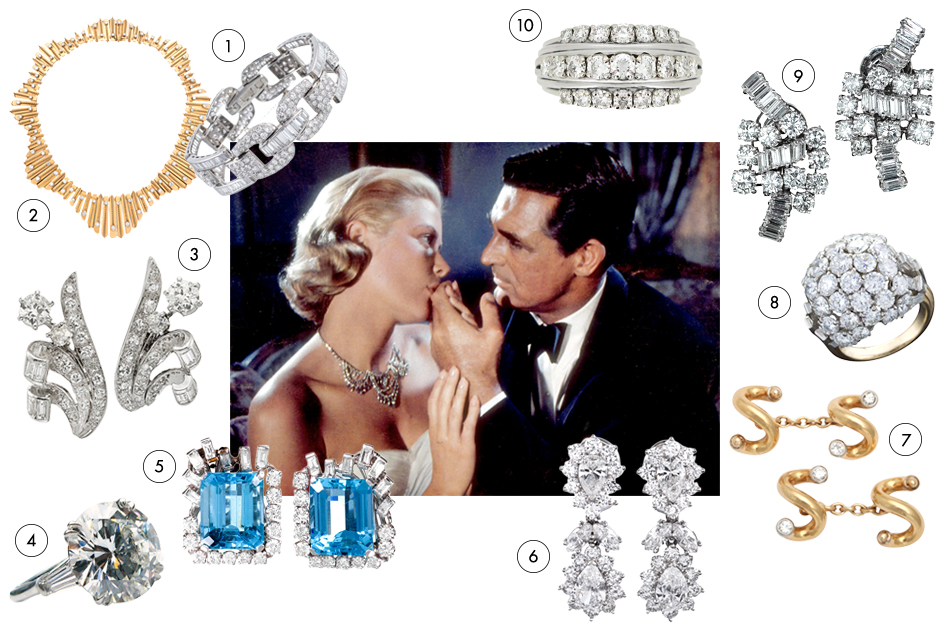 Even before she became Princess of Monaco, Hollywood royal Grace Kelly haunted the French Riviera of the mid-1950s, as cat burglar turned thief-catcher Cary Grant finds the personwho stole her mother's jewelry — and steals her heart in the process. Do the same by making a gift of some of these utterly romantic diamonds.1. Cartier diamond-and-gold undulating-fringe necklace, 1950s, offered by Fred Leighton 2. Round- and baguette-cut diamond bracelet, 1950s, offered by Fourtané 3. Boucheron diamond-and-platinum ear clips, 1940s, offered by FD 4. Harry Winston 9.31-carat diamond-and-platinum ring, offered by J. Birnbach 5. Earrings of aquamarine, diamonds and platinum, 1950s, offered by Fourtané 6. Van Cleef & Arpels diamond ring, ca. 1950s, offered by Berganza 7. Boucheron diamond-and-platinum ear clips, 1950s, offered by Lang Antiques 8. Boucheron bombé ring in diamonds, platinum and gold, ca. 1950s, offered by Macklowe Gallery 9. Van Cleef & Arpels gold-and-diamond cuff links, 1950, offered by Foundwell 10. Fancy-shaped diamond-cluster drop earrings, 1950s, offered by Fourtané