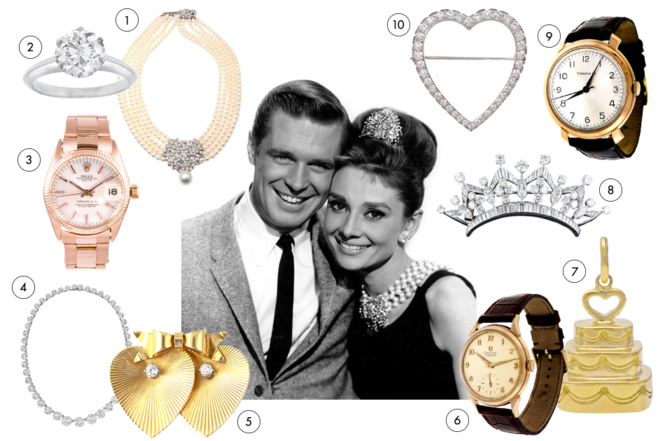 Audrey Hepburn proves diamonds — or perhaps pearls, or maybe just a cat named Cat and a guy named Paul (played by handsome George Peppard) — really are a girl's best friend. Don't leave your sweetheart staring longingly into the windows on the corner of 57th and Fifth: Make a surprise of one of these Holly Golightly-worthy finds.1. Tiffany & Co. 1.52-carat diamond-and-platinum engagement ring, offered by Israel Rose 2. Mikimoto five-strand choker of pearls, diamonds and white gold, 1999, offered by Fortrove 3. Rolex rose-gold women's Datejust wristwatch, ca. 1960s, offered by Fourtané 4. Tiffany & Co. diamond rivière necklace, offered by Betteridge 5. Tiffany & Co. diamond-and-gold double-heart brooch, ca. 1960, offered by Nigel Norman Fine Jewels 6. Tiffany & Co. diamond-and-platinum heart brooch, 1910, offered by Alice Kwartler 7. IWC rose-gold wristwatch retailed by Tiffany & Co., 1960-69, offered by Peter Suchy Jewelers 8. Diamond-and-platinum crown-shaped brooch, 1950-59, offered by Lang Antique & Estate Jewelry 9. Tiffany & Co. gold wedding-cake charm, ca. 1990s, offered by Alice Kwartler 10. Omega rose-gold wristwatch retailed by Tiffany & Co., 1960s, offered by Peter Suchy Jewelers