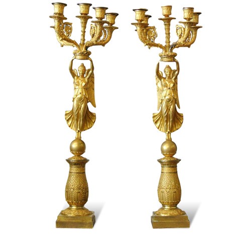 Pair of French Empire ormolu gilt-bronze candelabras in the manner of Pierre Philippe Thomire, 1810-20, offered by Spinario