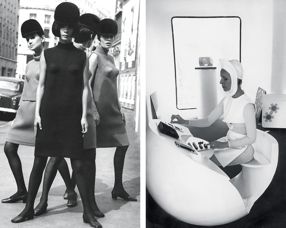 Left: Cocktail dresses with conical breasts from 1966. Photo by Yoshi Takata from the Pierre Cardin catalog, published by the Carl Sozzani gallery, Milan. Courtesy of Galleria Carla Sozzani, © Pierre Pelegry; Right: Photo of a model at a futuristic desk in an infirmary pod that was taken in 1970. © Archives Pierre Cardin