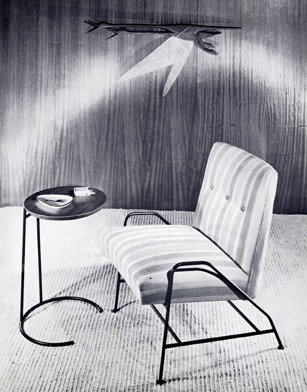 hough he was a confirmed devotee of wood, Jens Risom's first line as an independent designer, from around 1950, also included a low chair and a small table with black metal bases (image © Jens Risom 2012)