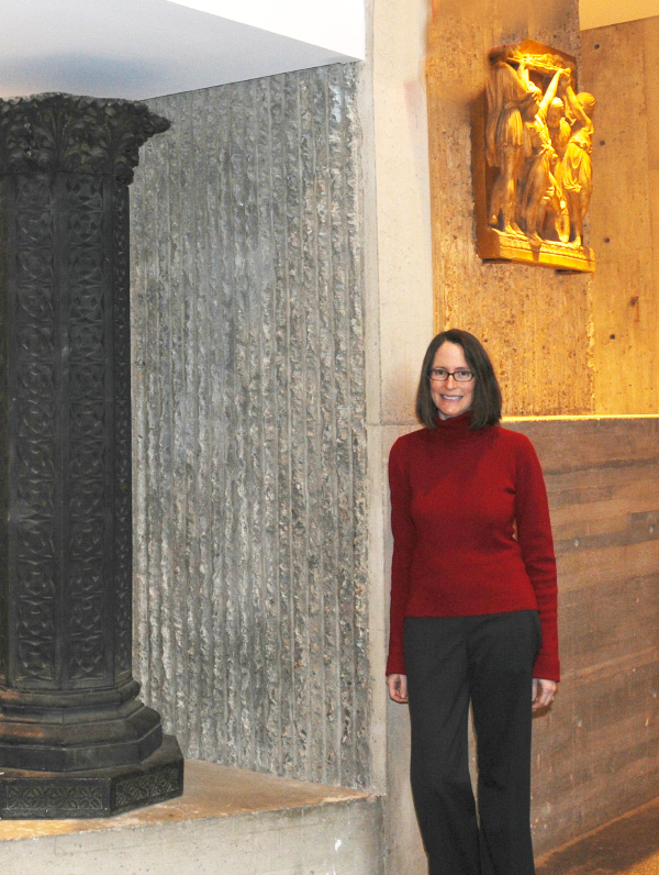 The author, a senior editor at the Yale Alumni Magazine, poses inside Rudolph's Art & Architecture building. Photo by Marilyn Roos