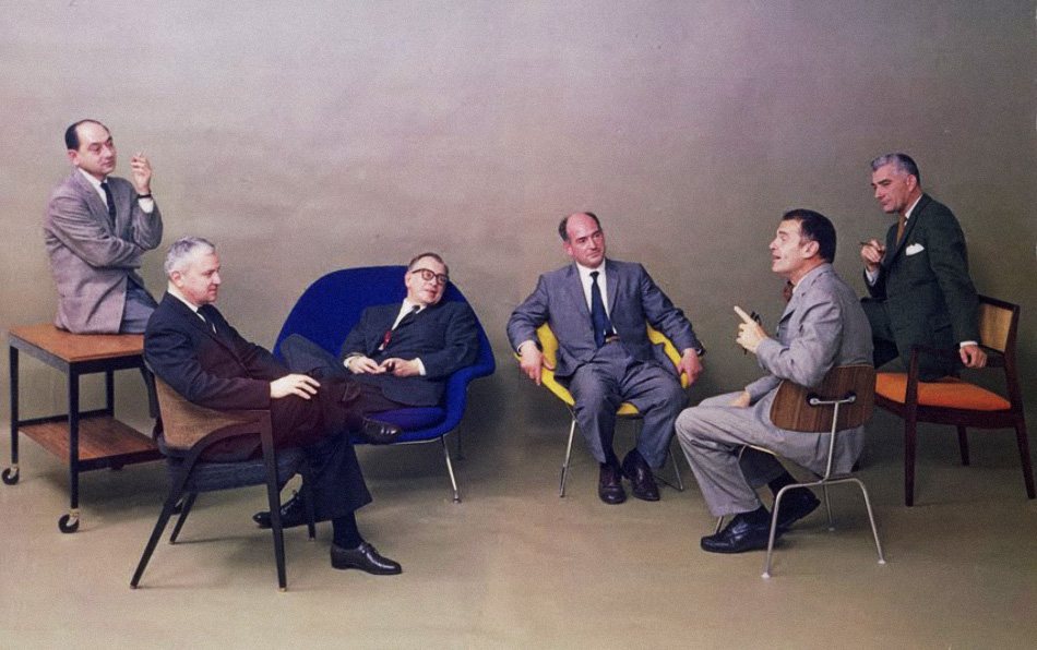 A 1961 Playboy article featured the leading creators of what would come to be known as mid-century modern design, with Risom on the far right. Image © Jens Risom 2012