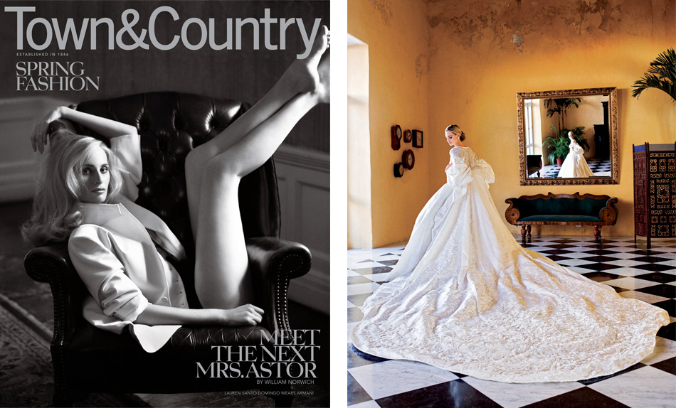 Left: Santo Domingo as cover girl for the March 2011 issue of Town & Country. Right: Santo Domingo in her wedding dress and coat, designed by Olivier Theyskens for Nina Ricci, at Casa Conde de Pestaqua in Cartagena. Photo by by Arthur Elgort, The World of Vogue: People, Parties, Places
