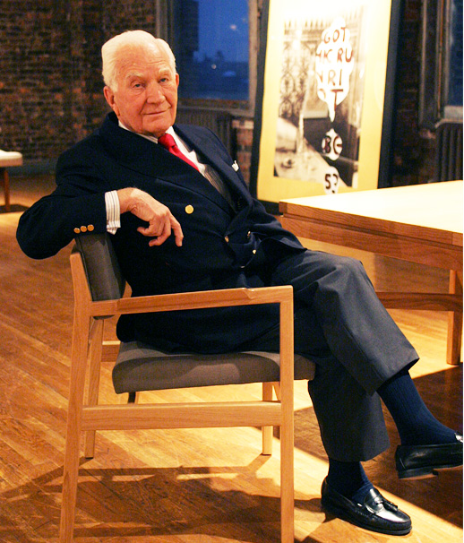 Risom photographed at an opening reception for the reissue of his furniture by Ralph Pucci International in New York, March, 2005. Photo by Tanya Braganti