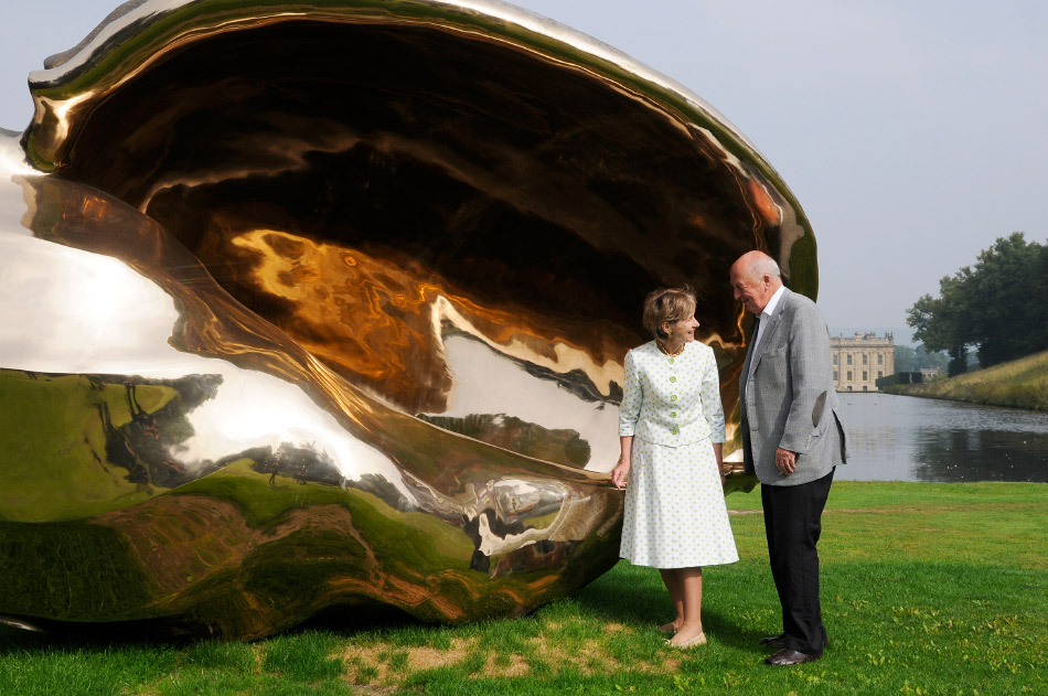 Early in their courtship, the Duke and Duchess discovered they shared a passion for collecting. Here, they're photographed with Marc Quinn's Spiral of the Galaxy, 2013. All photos courtesy of the Devonshire Collection, Chatsworth, by permission of the Chatsworth Settlement Trustees
