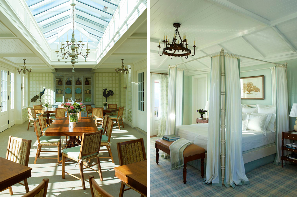 Left: Oprah Winfrey's Maui estate incorporates four separate cottages, with this room used as a place for her guests to meet and mingle. Right: In one of the 11 guest bedrooms of Winfrey's Maui home, antiques and embroidered-linen curtains enrich the pastel seafoam-green-periwinkle palette.