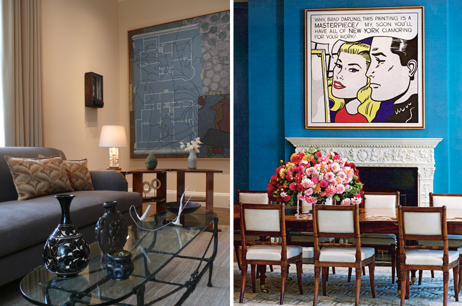 Left:In a McGinnis interior, art and design sometimes combine in a single piece, as they do here, in a bronze coffee table by Diego Giacometti. Photo by Roe Ethridge Right: A private New York residence pairs one of McGinnis's signature blue hues with Roy Lichtenstein's Masterpiece, 1962, and an antique English dining table and chairs. Photo by Roe Ethridge