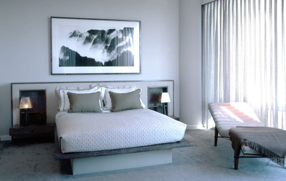 McGinnis-designed pieces in this bedroom include the upholstered, cerused-oak platform bed and the bronze-and-mica bedside lamp; Wang Wusheng's, Mt Huanshan (26) Many peaked mountains admist floating clouds, taken at Lion Peak in 1979. Photo by John Hall