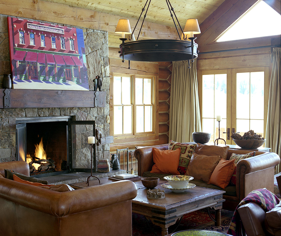 Brown's log cabin–style home in Telluride, Colorado, mixes influences to create a warm and welcoming slope-side escape.