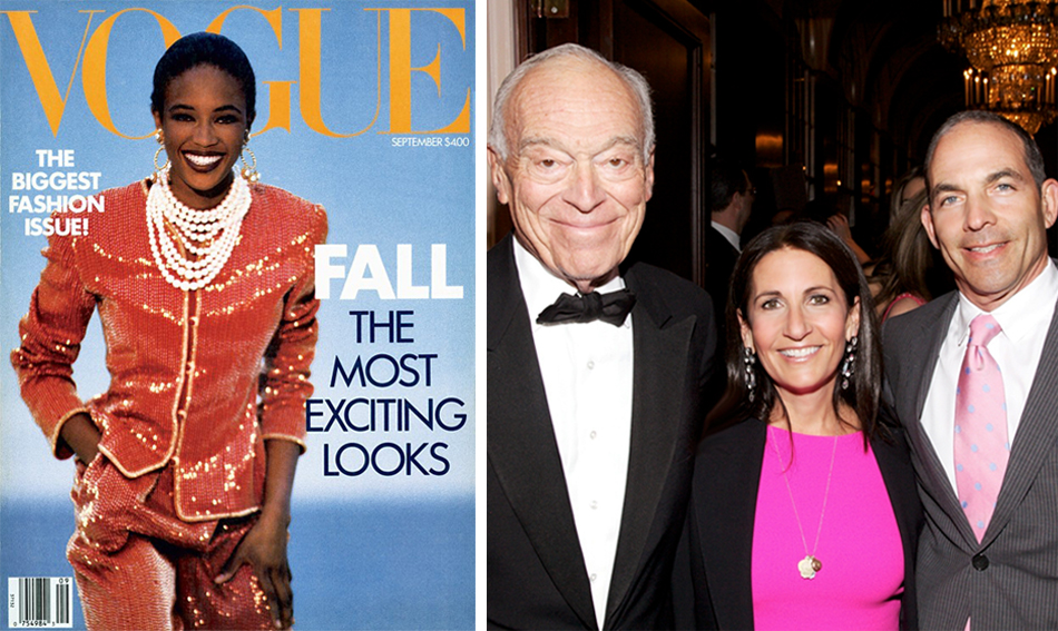 Left In September of 1987, both Brown and model Naomi Campbell made their debuts as Vogue cover girls.  In a recent photo, Brown is flanked by Leonard Lauder, who acquired her company in 1995, and her husband Stephen Plofker.