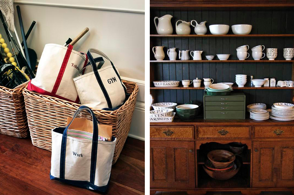 Labeled tote bags keep Brown organized, as does maintaining an up-to-date calendar with family commitments — and only then fitting business appointments around them.  Open shelving for dishware in her Montclair, New Jersey, home displays Brown's penchant for functional elegance.
