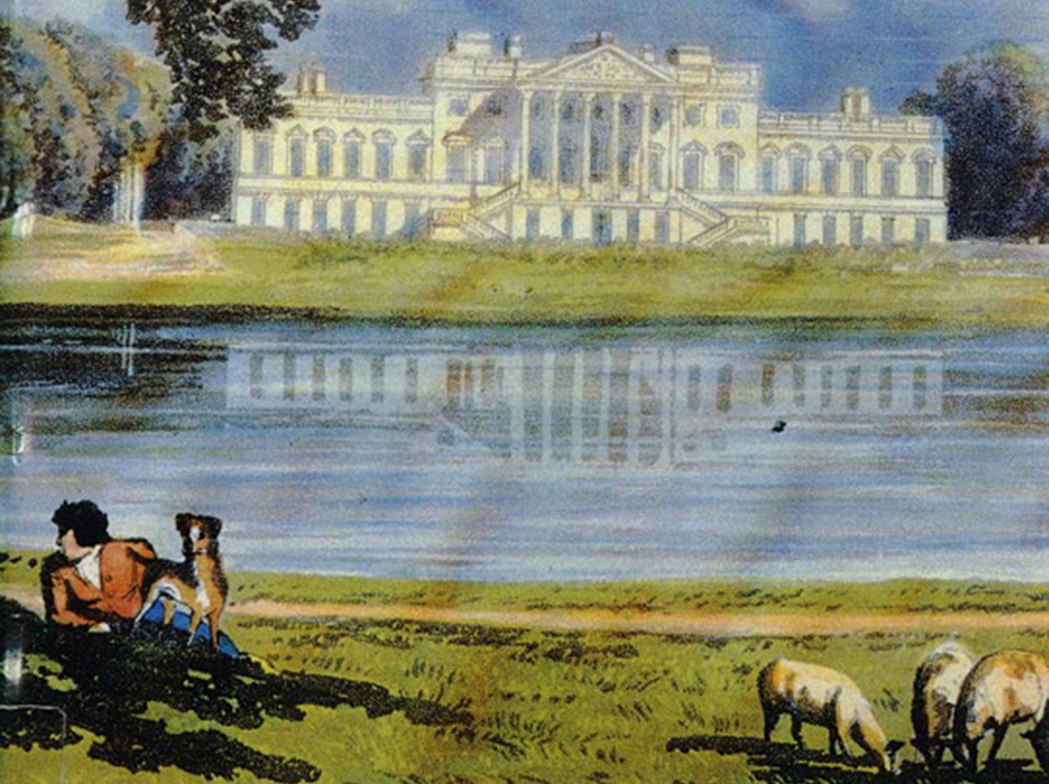 """Carlton Hobbs believes that the chimneypieces were created for Wanstead House, shown here in a detail of an aquatint published in 1815. An anonymous 18th-century writer described Wanstead """"as one of the noblest houses, not only in England, but in Europe."""""""