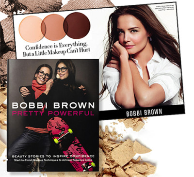 From left: Brown's latest book, her seventh, is both a makeup how-to bible and a celebration of women who inspire her; actress Katie Holmes stars in her current ad campaign.