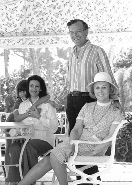 Leonard Lauder in Palm Beach, in 1979, with his mother, Estée, his wife, Evelyn, and their son, Gary