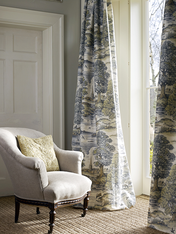 Another use of Lewis & Wood's Royal Oak pattern, this time as dramatic, floor-skirting curtains.