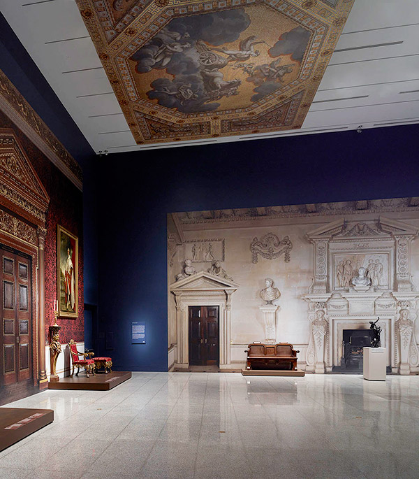The installation includes a facsimile of a wall in the estate's Stone Hall, the center of the house, designed by the eminent architect William Kent.