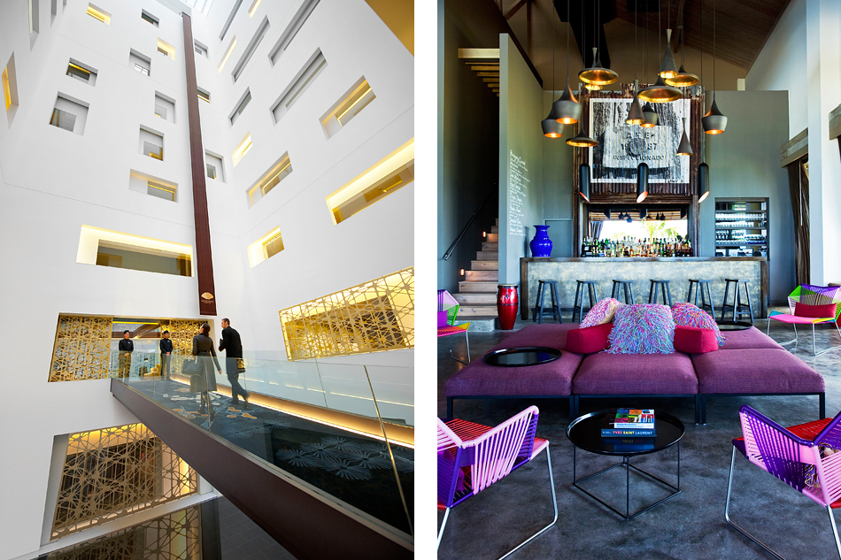 Left: Crossed by a catwalk-like bridge, the dramatic lobby atrium at the Mandarin Oriental Barcelona soars several stories above arriving guests. Photo courtesy of Mandarin Oriental Hotel Group. Right: For the W Retreat & Spa, Vieques Island, in the Caribbean, Urquiola handled both the architecture and interior design, combining industrial and tropical influences, as seen here in the hotel's Living Room bar, which features items from some of her collections for Moroso and B&B Italia. Photo courtesy of Starwood Hotels