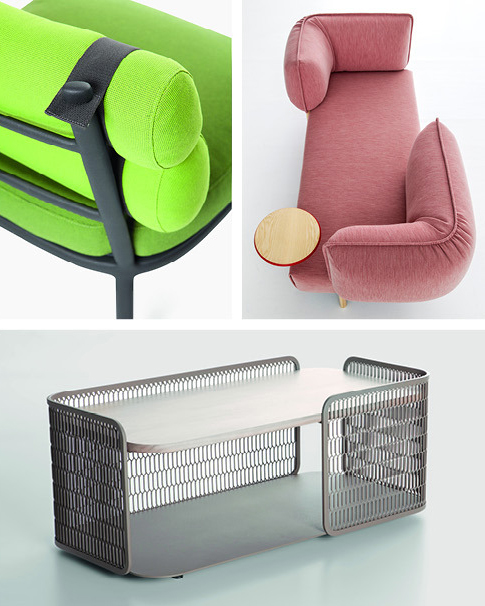 Urquiola's recent furniture-design projects include, clockwise from top left: the Roll chair, for Kettal (photo courtesy of Kettal); the (love me) Tender sofa system for Moroso (photo by Alessandro Paderni/Studio EYE); and the Mesh table, also for Kettal (photo courtesy of Kettal)