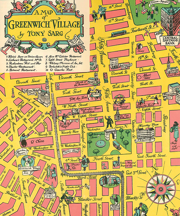 A detail of a 1934 map by the illustrator (and master puppeteer) Tony Sarg shows how the streets of the neighborhood famously fall off the city grid west of Sixth Avenue.