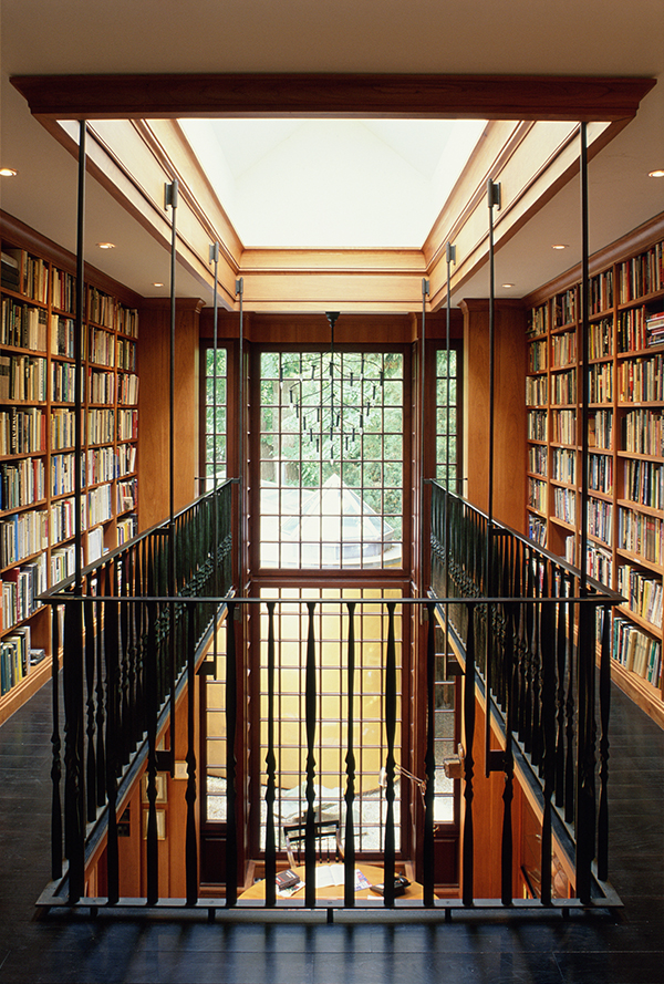 Demonstrating his diverse influences, Greenberg channeled both Shaker architecture and Mies van der Rohe's work when creating this library addition (1995) to a Cambridge, Massachusetts, home. Photo by Richard Cheek