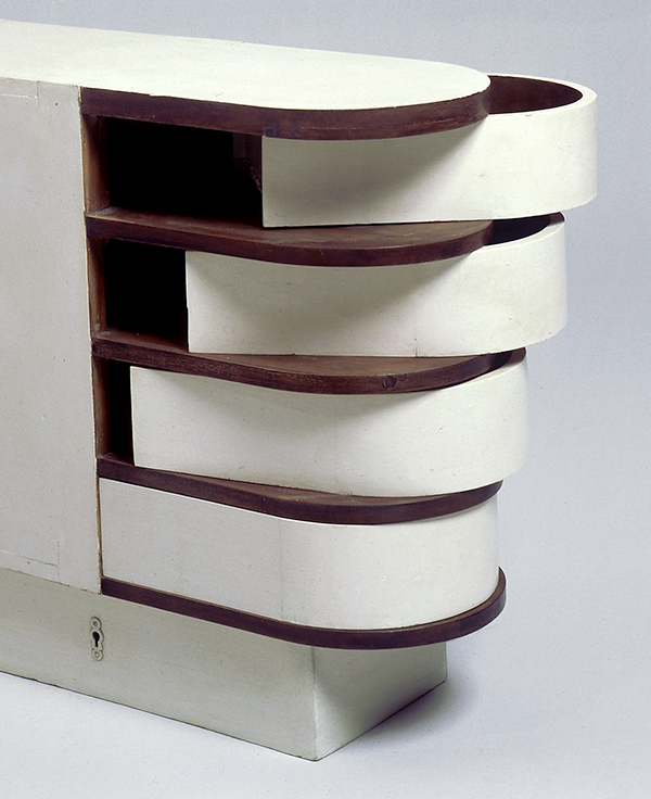 Another piece created for E. 1027, Gray's Cabine a tiroirs pivotantes, or Swiveling Drawers cabinet (ca. 1926–29), features a secret locking system.