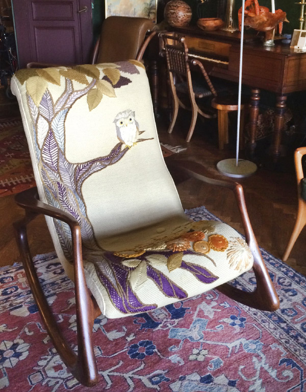 Kagan's interest in adventurous creative collaborations extended to his choice of wife, a very tall young Englishwoman, named Erica Wilson, who became a celebrated authority on and entrepreneur of needlework. (The Kagan-Wilson collaboration produced three children and this rocking chair and lasted 54 years until Wilson's death in 2011.)