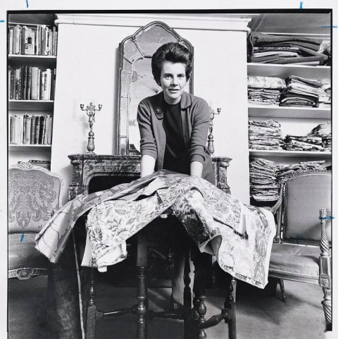 Fox Linton at home with her fabric library in the 1960s