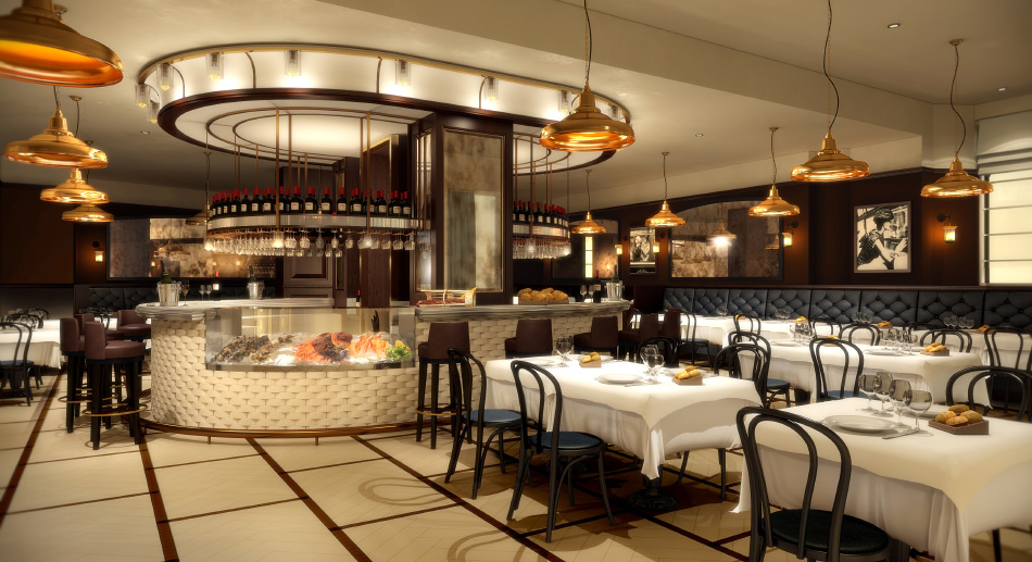 The bar and dining room of Galvin Brasserie de Luxe at the Caledonian hotel, in Edinburgh