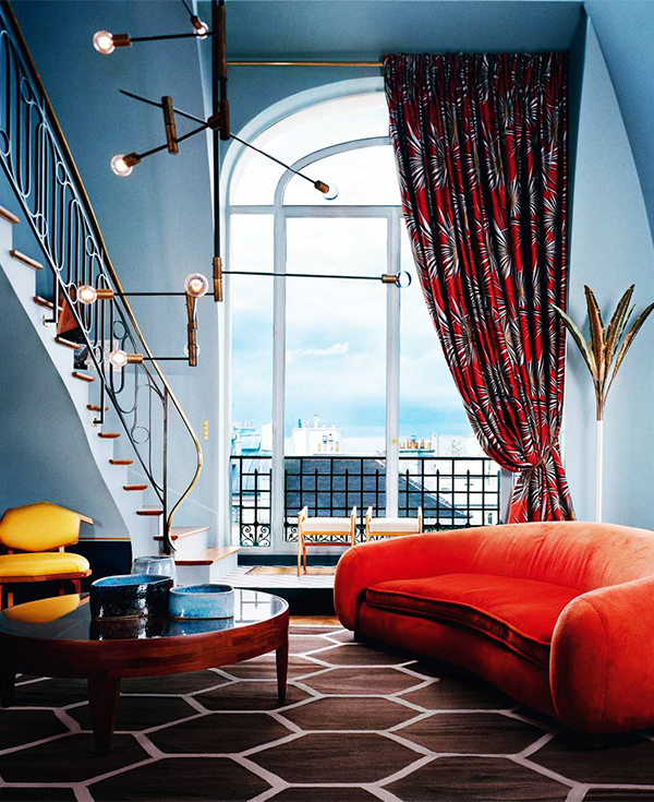 Milan design duo Dimore Studio's masterful mix of classic and contemporary elements in a Saint-Germain-des-Prés duplex made the cover of an AD tribute to beautiful Paris apartments. © Mai-Linh