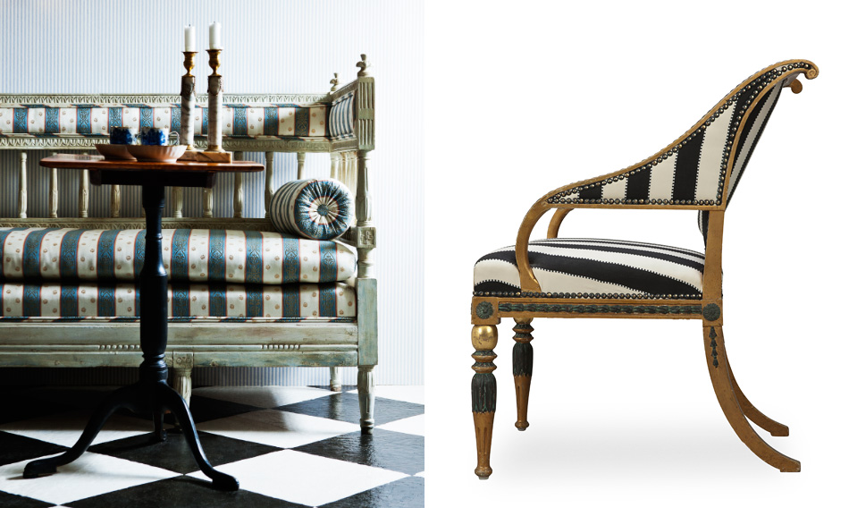 Left: Sweden's Gustavian style, as exemplified by this sofa, distinguishes itself by its restrained elegance, perpendicular lines and textiles that bear patterns of plain stripes or stripes alternating with columns of flowers. Right: In Sweden, the Empire style is sometimes jokingly called the Second Bronze Age, due to its many gilded motifs: griffins, sphinxes, palmettes, lyres and dolphins. The green-patinated details of this Stockholm-made armchair are meant to simulate bronze.