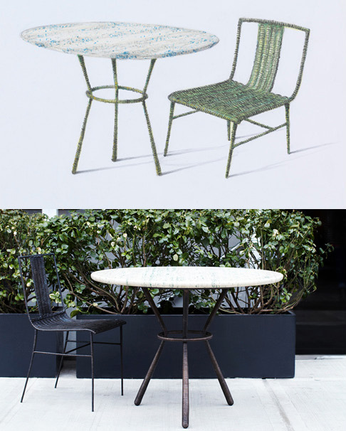 From top: the rendering and the realization of Bonetti's new cast-bronze Rattan armchair and table, 2012.