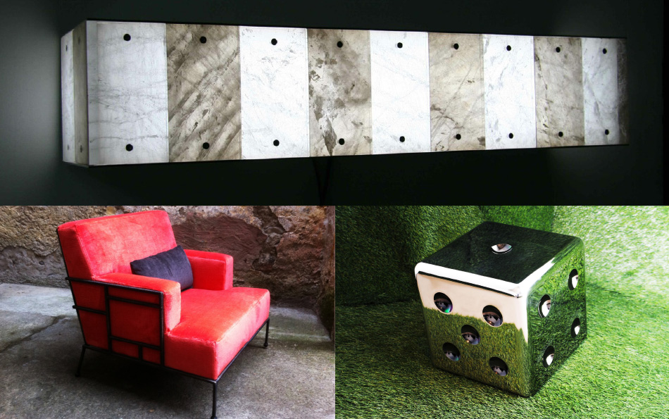 New for 2013, clockwise from top: The DJ wall sconce, in smoke and clear rock crystal; the Lucky side table-cum-stool in polished stainless steel; the colorful Pliniana armchair