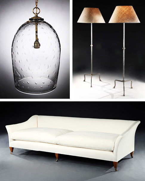 Uniacke's furniture and lighting designs include, from top left, the Bubble Glass lantern, Hoof lamp and Drawing Room sofa.