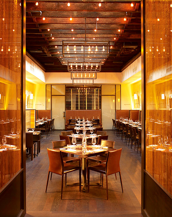 At Scarpetta, Scott Conant's Italian restaurant in the Meatpacking District, Groves lined the walls with cork paneling. Photo by Eric Piasecki