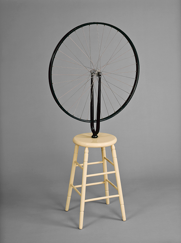 Marcel Duchamp, Bicycle Wheel, 1913, 6th version 1964, bicycle fork with wheel mounted on painted wooden stool, National Gallery of Canada, Ottawa, Purchased 1971, © Estate of Marcel Duchamp / SODRAC (2015)