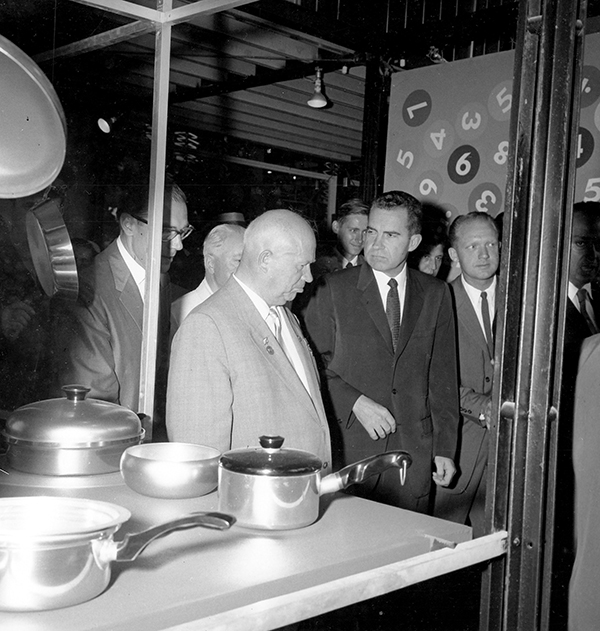 Soviet premier Nikita Khrushchev (left) and U.S. vice president Richard Nixon in the kitchen of a model home created for the 1959 American National Exhibition in Moscow.