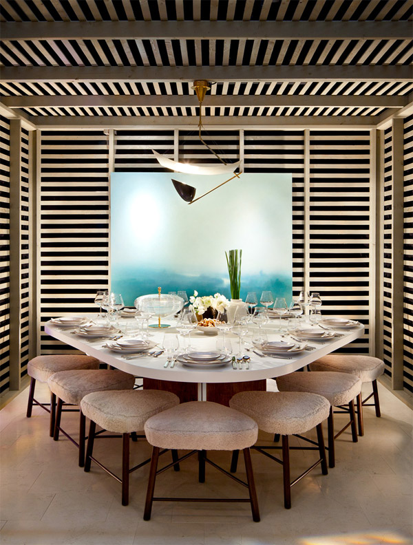 Shawn Henderson's room for the 2012 Dining for Design event, benefitting the nonprofit DIFFA, featured stools and a table of his own design.